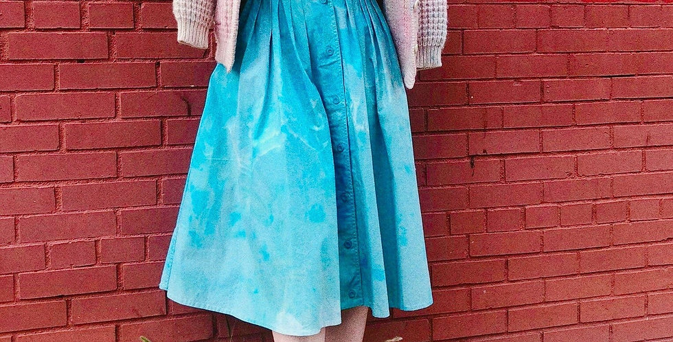 Bleached Watercolor Tie Dyed Vintage Cotton Full Riding Skirt