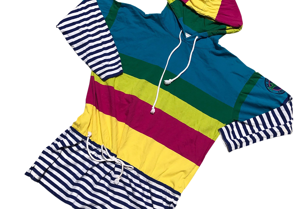 Mixed Stripe / Color Blocked Lightweight Tunic Hoodie