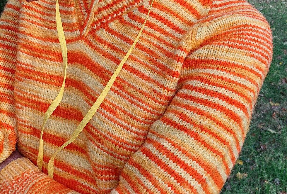 Caution Orange Spacedye V-Neck Sweater