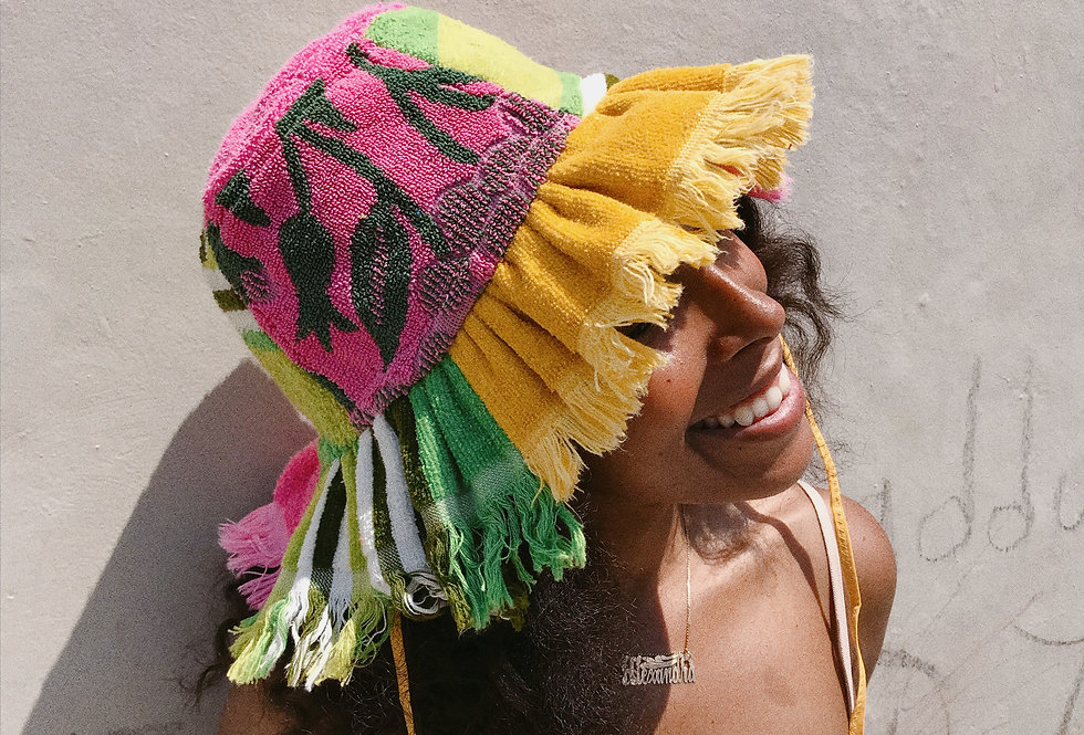 The Carly Patchwork Terry Towel Hat w Fringe