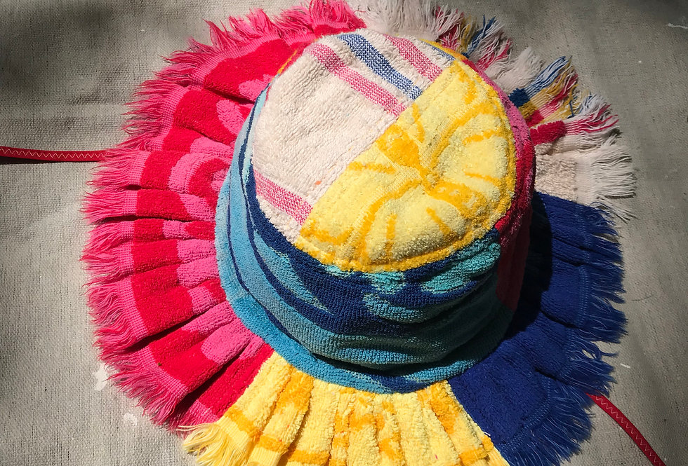 The Daisy Patchwork Terry Towel Hat w Fringe
