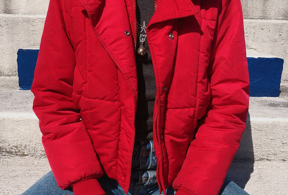80s Red Cropped Puffer Jacket