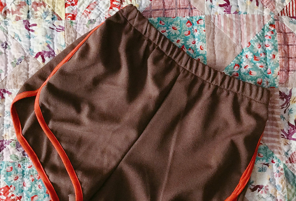 SZ 2 Brown Poly Knit Ringer 70s Gym Shorts