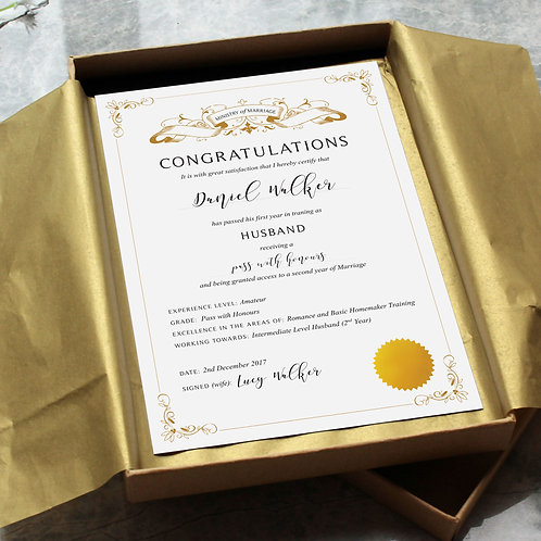 First Anniversary Paper Gift: Husband Certificate