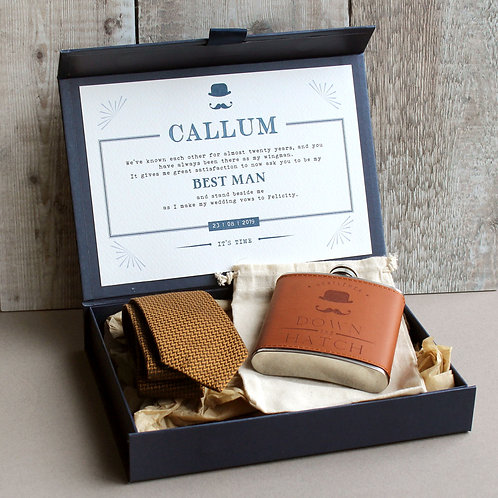 Navy Groomsman Gift Box with Personalised Message