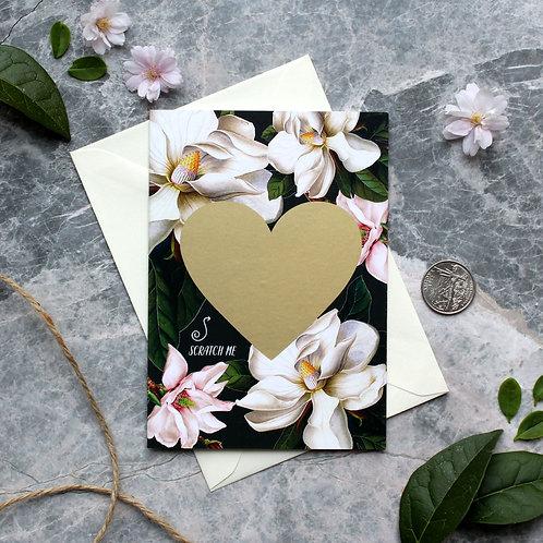 "Black Magnolia Scratch off ""be my Bridesmaid"" card"
