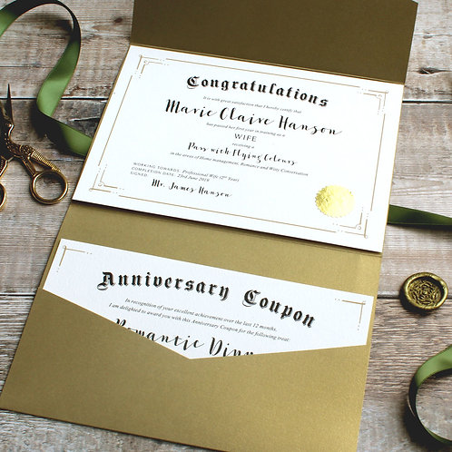 First Anniversary Paper Gift: Wife Certificate & Coupon