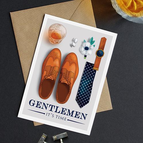 """Gentlemen It's Time"" Be My Best Man Cards"
