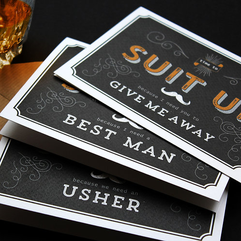 """Suit Up""Groomsman Cards"