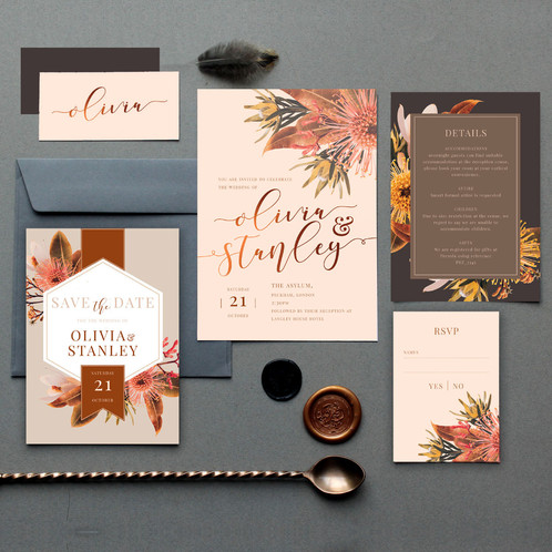 c527efe8e135a The contemporary invitation collection has a earthy palette of blush pink,  fired clay and charcoal grey with a modern floral design.