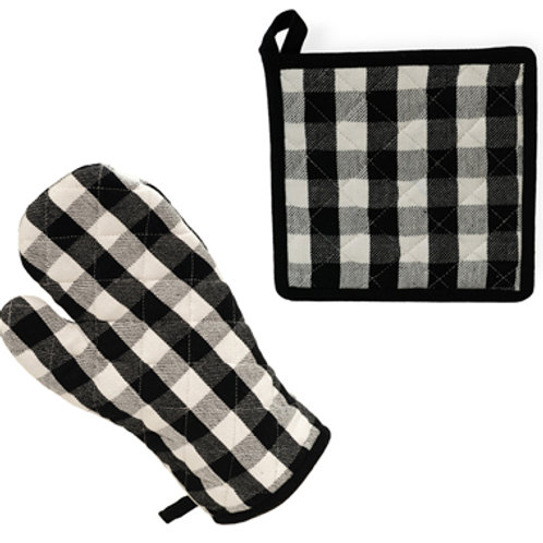 Black & White Check Pot Holder & Oven Mitt Set
