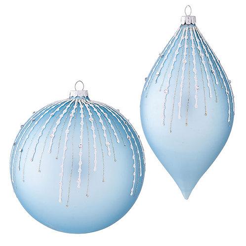 "6"" Glitter Pattern Glass Ornament 2 PC. Set"