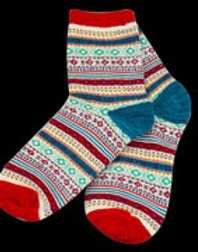 Red Multi Adult Diamond Pattern Sock