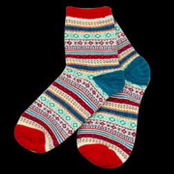 Red Multi Adult Diamond Pattern Sock