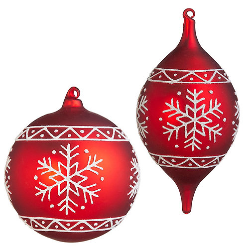 """6"""" Snowflake Pattern Ornament 2 PC. SET"""
