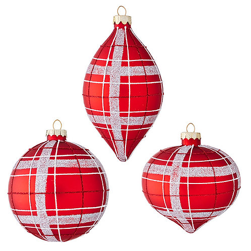 "4"" Red & Silver Glass Ornament 3 PC. Set"