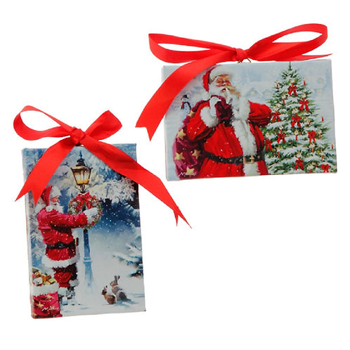 LED Santa Hanging Ornament 2 Pc Set
