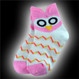 Pink & White Youth Owl Socks