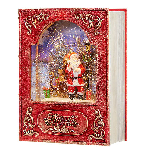 Santa in Book Water Lantern