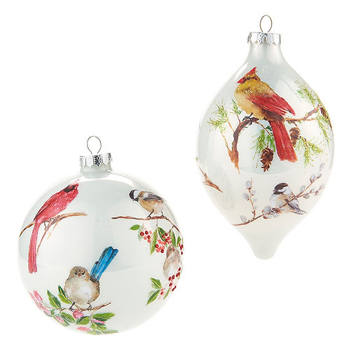 "4.75"" Glass Bird Ornament 2 PC. Set"