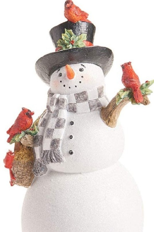 Snowman with Cardinals Statue