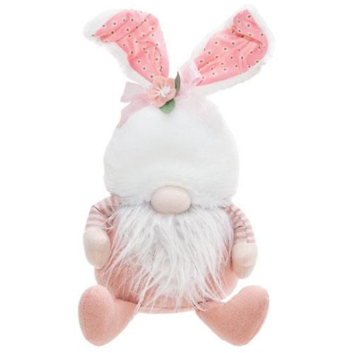Sitting Pink Bunny Gnome w/Bunny Ears