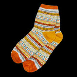 Yellow Multi Adult Diamond Pattern Sock