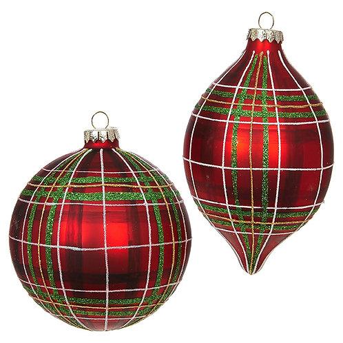 "5"" Glass Red Plaid Ornament 2 PC. Set"