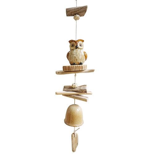 Ceramic & Driftwood Owl Wind Chime