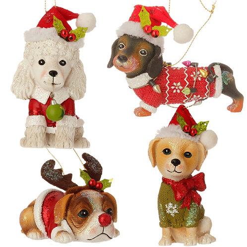 Puppy Ornament 4 Pc Set