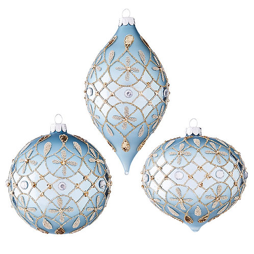 "4"" Glass Jeweled Ornament 3 PC. Set"