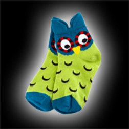 Blue & Green Youth Owl Socks