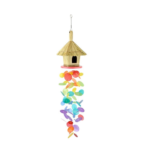 Capiz Shell Bamboo Hut Wind Chime