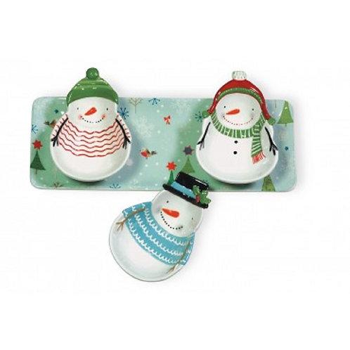 Sweaterific Snowman 4 Pc Tray Set