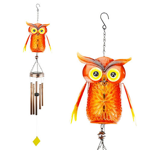 LED Jar Owl Wind Chime