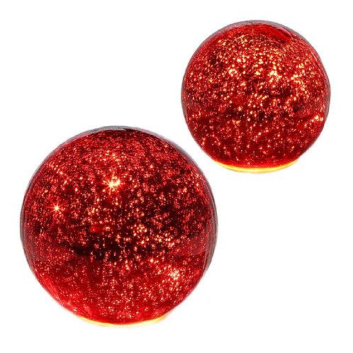 LED Set of 2 Mercury Glass Orbs
