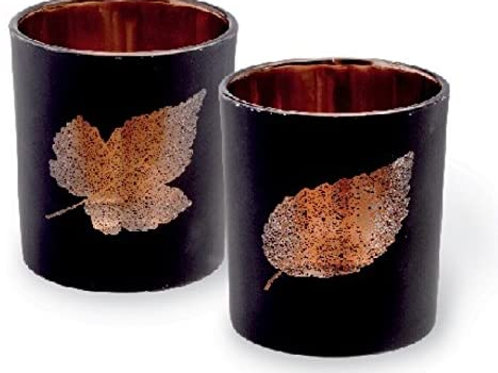 2 Pc Leaf Votive Set