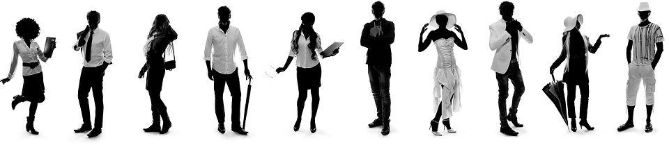 Silhouettes photographes en noir et blanc