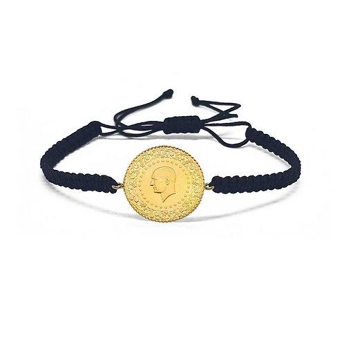 "Armband aus Seide mit Münze ""Ceyrek"" 22 / 916 Karat"