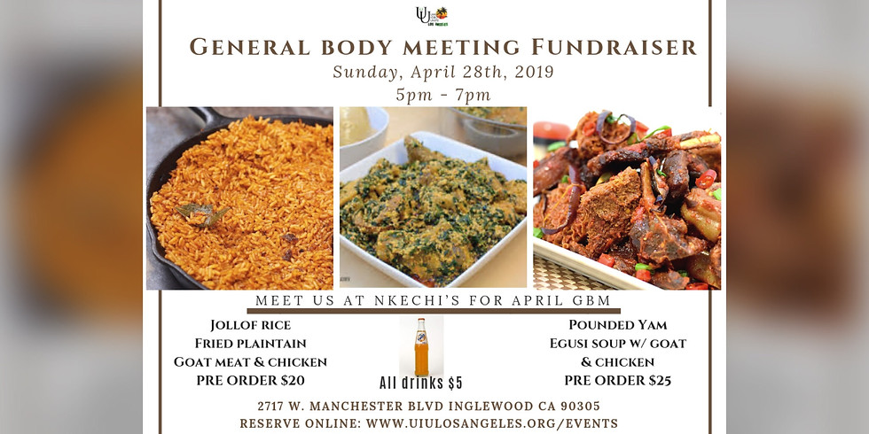 Nkechi African Cafe General Body Meeting Fundraiser