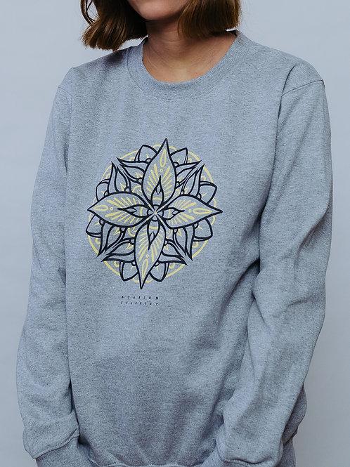 Crewneck Sweatshirt Mandala Light Grey UNISEX