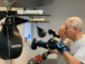 Hitting the Speedbag at Rock Steady Boxing Victor