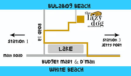 Map to The Lazy Dog Bed & Breakfast, Boracay
