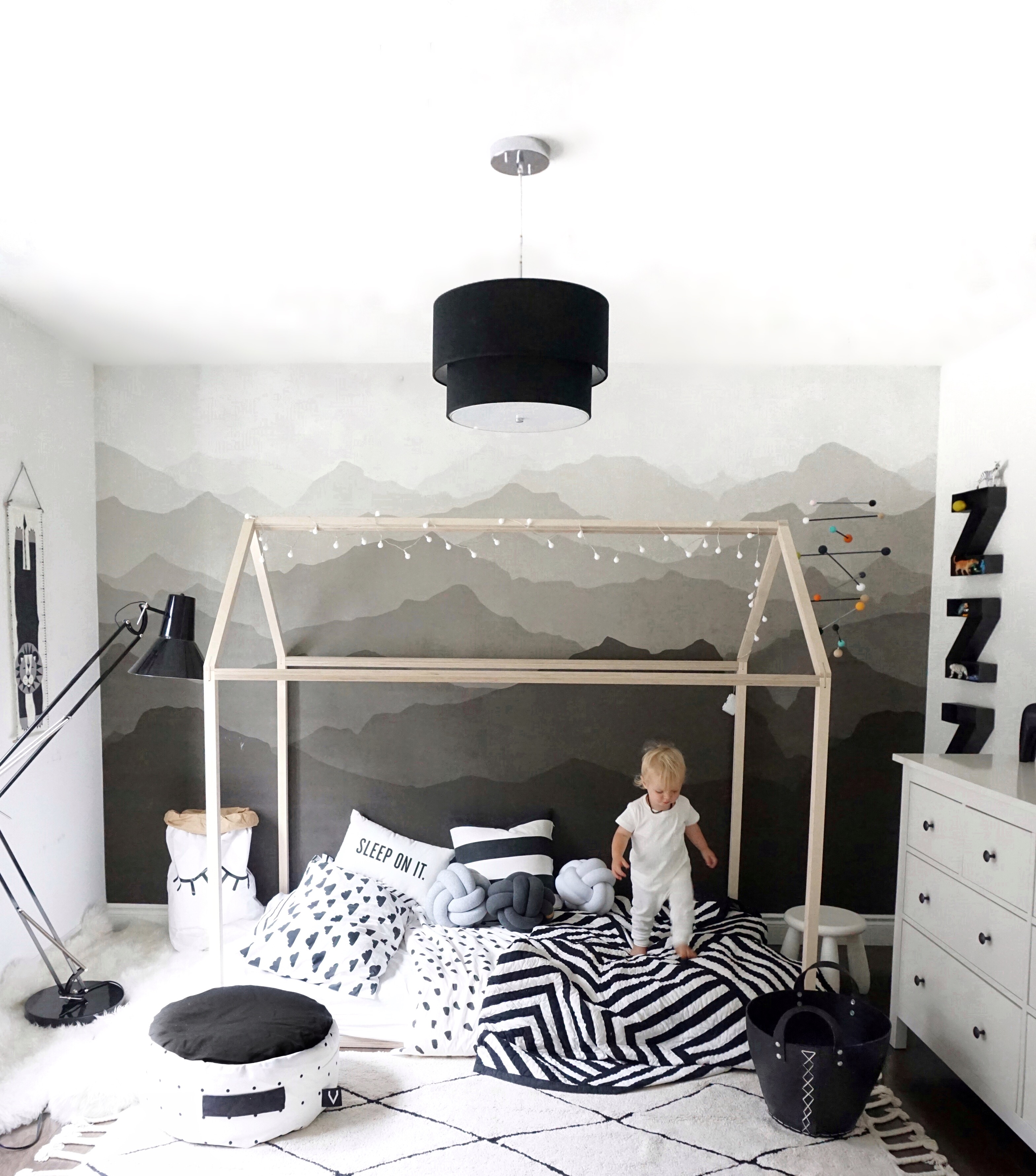 Monochrome Kidu0027s Room Makeover With A New House Bed | Ericashawandcompany