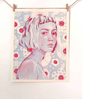 "Portrait of a Girl - ""Blue Bed Sheets"" // 2 color Risograph Print"