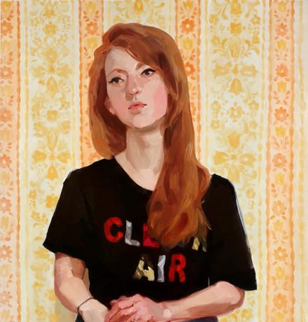 Sarah Against Yellow Wallpaper