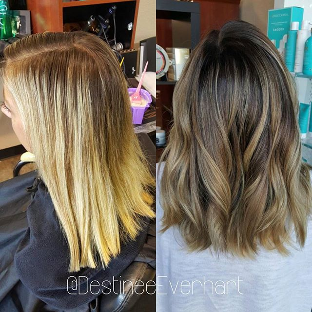 Creamy Bronde☕☕☕ Before and after!_To soften and blend harsh highlight demarcation I took diagonal s