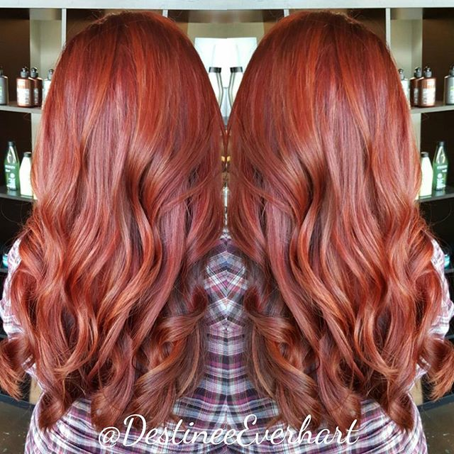 Copper Gold⭐_Created using balayage and a Pravana Vivid glaze of orange, red, clear, and NEW Pravana