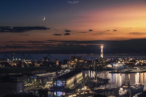 Tramonto Solare e Lunare - Porto Antico - Genova