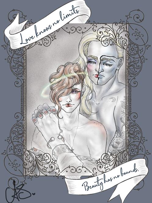 'Love knows no limits' 5x7 Print of Digital Illustration, Soft Boys